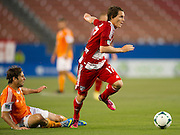 FRISCO, TX - JUNE 12:  Zach Loyd #17 of FC Dallas breaks past Mike Chabala #6 of Houston Dynamo on June 12, 2013 at FC Dallas Stadium in Frisco, Texas.  (Photo by Cooper Neill/Getty Images) *** Local Caption *** Zach Loyd; Mike Chabala