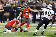 NEW ORLEANS, LA - SEPTEMBER 20:  Kyle Brindza #2 of the Tampa Bay Buccaneers kicks a extra point during a game against the New Orleans Saints at Mercedes-Benz Superdome on September 20, 2015 in New Orleans Louisiana.  The Buccaneers defeated the Saints 26-19.  (Photo by Wesley Hitt/Getty Images) *** Local Caption *** Kyle Brindza