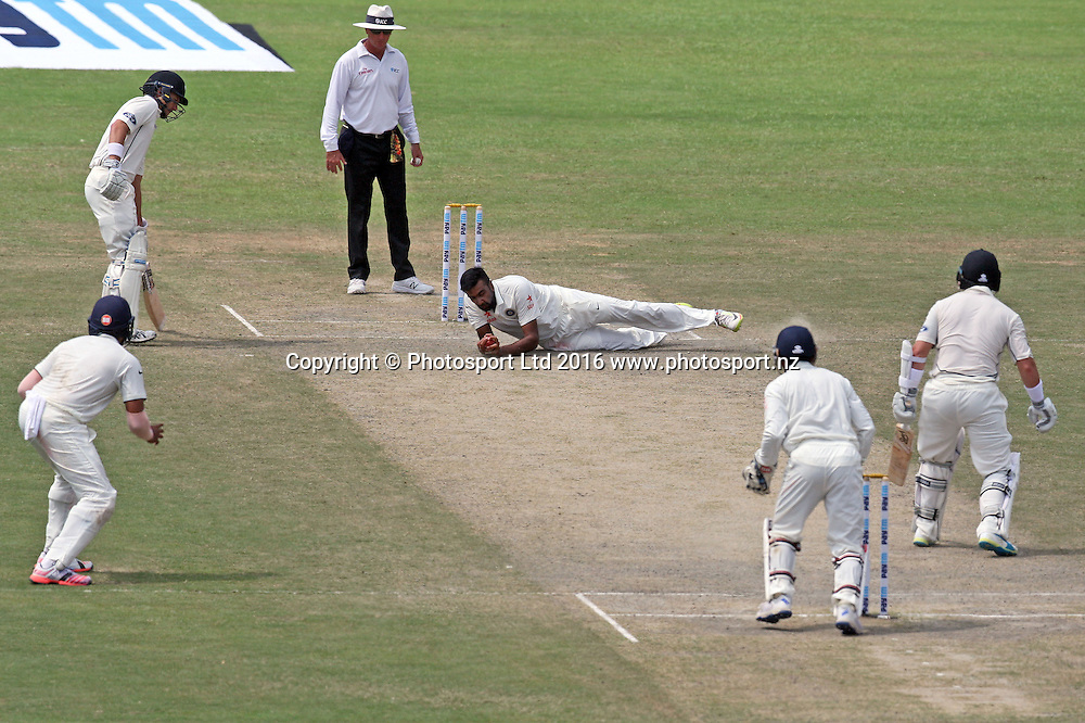 BJ Watling of New Zealand caught and bowled by Ravichandran Ashwin of India on the third day of their cricket test match at Green Park Stadium in Kanpur, India, Saturday, Sept. 24, 2016.
