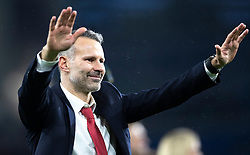 CARDIFF, WALES - Tuesday, November 19, 2019: Wales' manager Ryan Giggs thanks the fans after the final UEFA Euro 2020 Qualifying Group E match between Wales and Hungary at the Cardiff City Stadium where Wales won 2-0 and qualified for Euro 2020. (Pic by Laura Malkin/Propaganda)