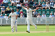 Craig Overton of Somerset appeals for a wicket which is given not out during the Specsavers County Champ Div 1 match between Somerset County Cricket Club and Nottinghamshire County Cricket Club at the Cooper Associates County Ground, Taunton, United Kingdom on 10 June 2018. Picture by Graham Hunt.