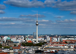 View of skyline of Berlin with Television Tower at Alexanderplatz to rear