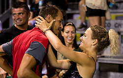 Lukas Rosol (CZE) with his girlfriend after he won doubles Semifinal during Day 7 at ATP Challenger Zavarovalnica Sava Slovenia Open 2018, on August 9, 2018 in Sports centre, Portoroz/Portorose, Slovenia. Photo by Vid Ponikvar / Sportida