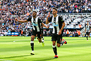 Fabian Schar (#5) of Newcastle United celebrates Newcastle United's first goal (1-1) during the Premier League match between Newcastle United and Watford at St. James's Park, Newcastle, England on 31 August 2019.