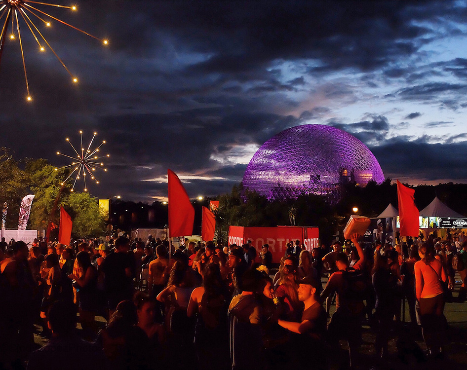 A view of the Biosphere from the temporary Osheaga site during the 2017 edition.