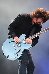 Dave Grohl with the Foo Fighters on the Main Stage.<br /> T in the Park on Sunday 10th July 2011. T in the Park 2011 music festival takes place from 7-10th July 2011 in Balado, Fife, Scotland.<br /> &copy;Pic : Michael Schofield.