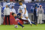 CHICAGO, IL - AUGUST 02: MLS All-Star and Atlanta United FC midfielder Miguel Almiron (26) and Real Madrid midfielder Casemiro (14) collide in the second half during a soccer match between the MLS All-Stars and Real Madrid on August 02, 2017, at Soldier Field in Chicago, IL. The game ended in a 1-1 tie with Real Madrid winning on penalty kicks 4-2. (Photo By Daniel Bartel/Icon Sportswire)