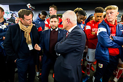 Bristol City CEO Mark Ashton, Head Coach Lee Johnson and owner Steve Lansdown await the semi final draw in the tunnel after Korey Smith of Bristol City scores a goal in the 93rd minute to make it 2-1 and win the match for his side - Rogan/JMP - 20/12/2017 - Ashton Gate Stadium - Bristol, England - Bristol City v Manchester United - Carabao Cup Quarter Final.