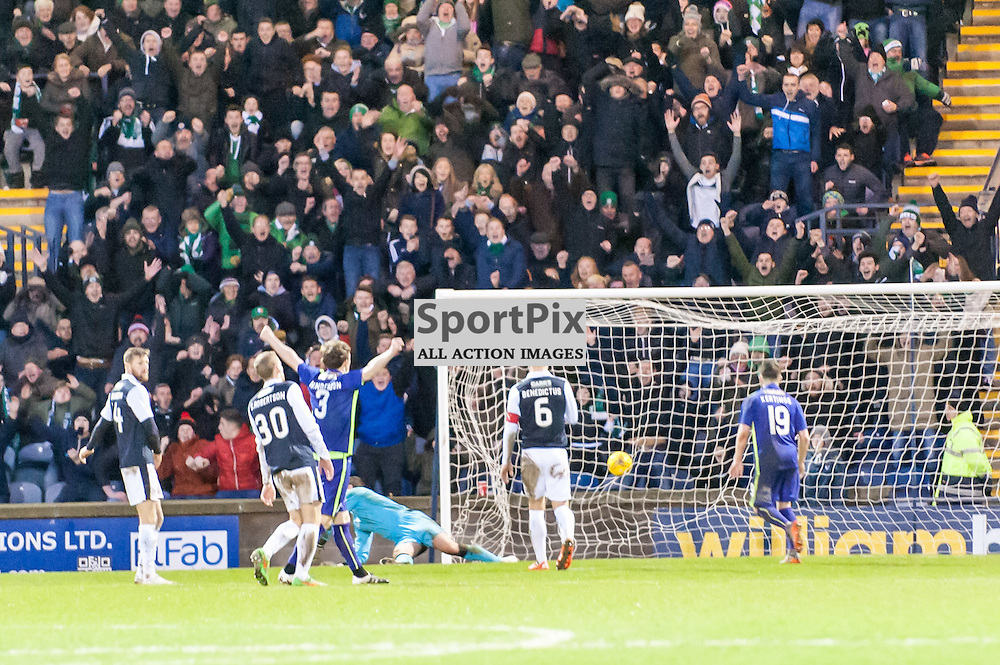 Hibs players celebrate Dominique Malonga's goal to make it 2-0. Action from the Raith Rovers v Hibernian game in the 3rd Round of the Scottish Cup at  in Kirkcaldy, 9 January 2016. (c) Paul J Roberts / Sportpix.org.uk