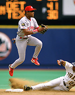 PITTSBURGH - 1994:  Barry Larkin of the Cincinnati Reds fields during an MLB game versus the Pittsburgh Pirates at Three Rivers Stadium in Pittsburgh, Pennsylvania during the 1994 season. (Photo by Ron Vesely).  Subject:   Barry Larkin