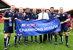 SKY BET PICTURES - FREE TO USE  Burnley Staff celebrate after they Win the Sky Bet Championship - Mandatory by-line: Paul Terry/JMP - 07/05/2016 - FOOTBALL - The Valley - London, England - Charlton Athletic v Burnley - Sky Bet Championship