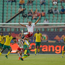 Percy Muzi Tau of South Africa  Karim El Ahmadi Aroussi of Morocco during the African Cup of Nations match between South Africa and Morocco on July 1st, 2019. Photo : Ulrik Pedersen / Icon Sport