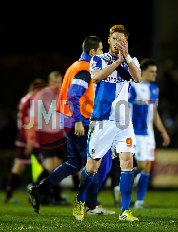 Bristol Rovers Forward Matt Harrold (ENG) claps fans after a victory in the match - Photo mandatory by-line: Rogan Thomson/JMP - Tel: Mobile: 07966 386802 - 21/12/2013 - SPORT - FOOTBALL - Memorial Stadium, Bristol - Bristol Rovers v Portsmouth - Sky Bet League Two.