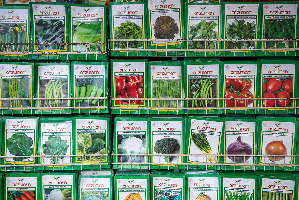 Metal shelves hold packages of seeds for sale at outdoor marketplace, Istanbul, Turkey.