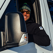 Andrew McCarthy drives a Mercedes Benz Sprinter details owned by the Teton Science School in Jackson, Wyoming.