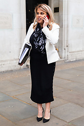 Nadia Essex leaves her employment tribunal in London where she is suing  former Celebs Go Dating co-host Eden Blackman for unfair dismissal. London, April 24 2019.