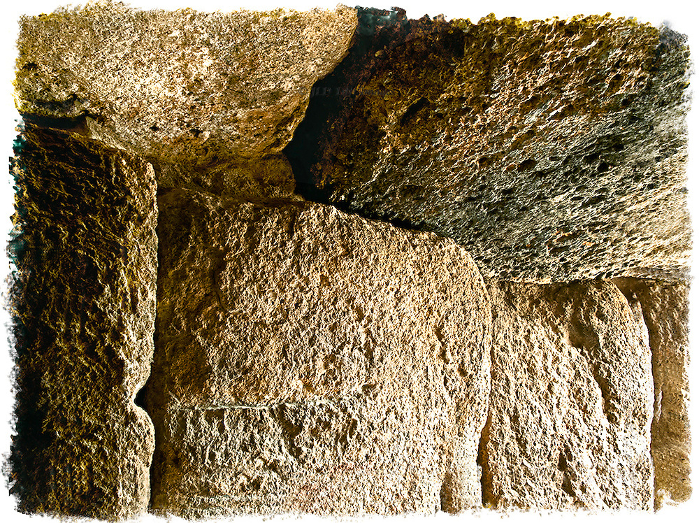 Interior wall megaliths of the dolmen of Menga, near Antequera, Malaga, Spain.  Built 3d milennium BCE.  A print with hand finished edges is available, as well as with the usual straight edges of a photographic print.