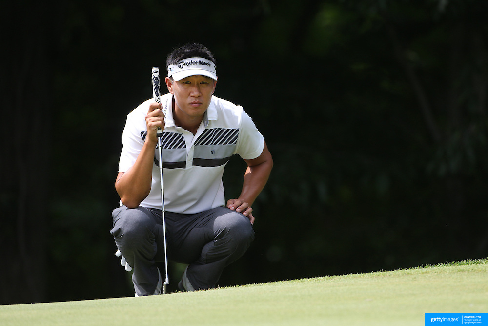 James Hahn, USA, in action during the first round of the Travelers Championship at the TPC River Highlands, Cromwell, Connecticut, USA. 19th June 2014. Photo Tim Clayton