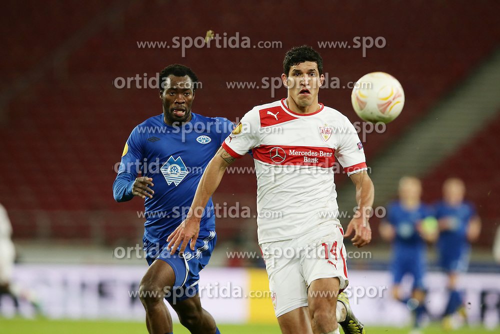 06.12.2012, Mercedes Benz Arena, Stuttgart, GER, UEFA EL, GER, UEFA EL, VfB Stuttgart vs Molde FK, Gruppe E, im Bild Davy Claude ANGAN (MOLDE FK), links im Zweikampf mit MAZA (VfB Stuttgart) // during UEFA Champions League group E match between FC Bayern Munich and BATE Baryssau at the Mercedes Benz Arena, Stuttgart, Germany on 2012/12/06. EXPA Pictures © 2012, PhotoCredit: EXPA/ Eibner/ Eckhard Eibner..***** ATTENTION - OUT OF GER *****