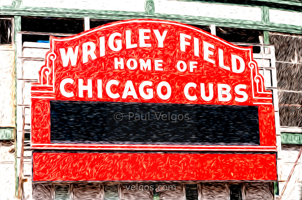 Digital painting of Chicago Cubs Wrigley Field sign. Wrigley Field is one of the oldest baseball stadiums in the United States.