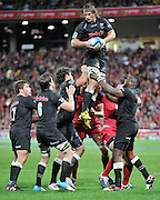 Sharks secure clean line out ball during the Super 15 Rugby (Quarter Final) fixture between the Queensland Reds and the South Africa Sharks played at Suncorp Stadium (Brisbane) on Saturday 21st July 2012 ~ Editorial Use only in accordance with QRU Terms & Conditions ~ Photo Credit Required : Steven Hight / photosport.co.nz