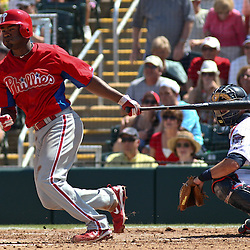 March 13, 2011; Fort Myers, FL, USA; Philadelphia Phillies third baseman Josh Barfield (61) during a spring training exhibition game against the Minnesota Twins at Hammond Stadium.   Mandatory Credit: Derick E. Hingle