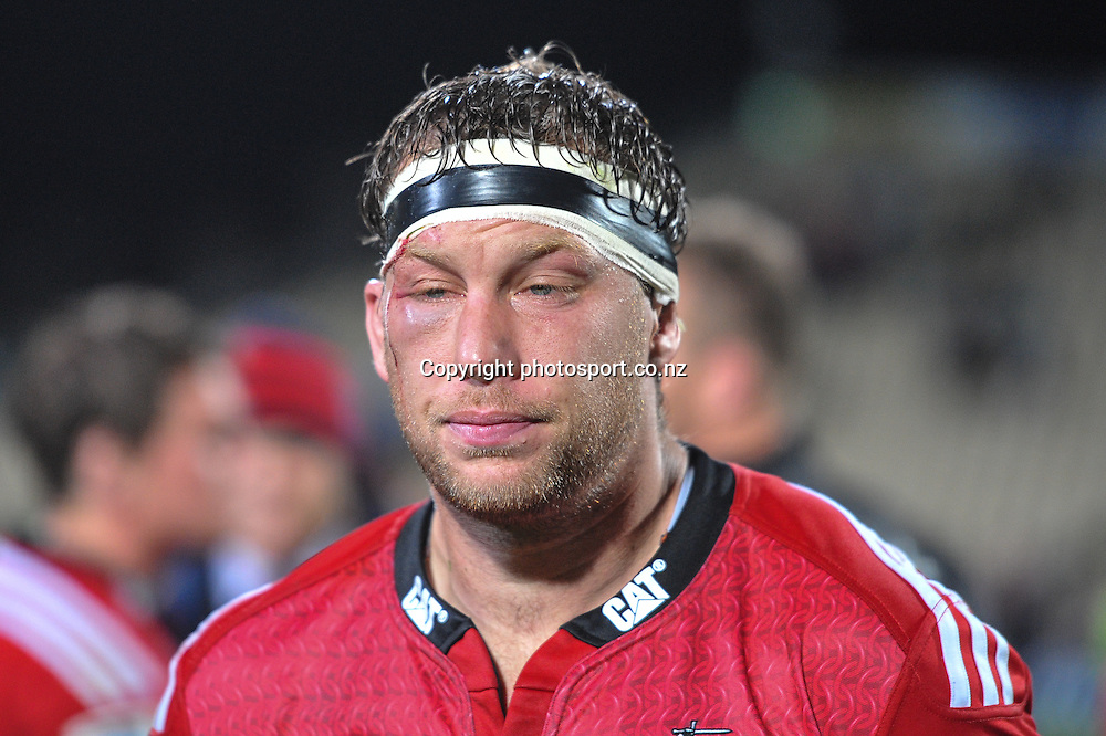 A dejected Wyatt Crockett of the Crusaders in the Super Rugby game, Crusaders v Hurricanes, 28 March 2014. Photo:John Davidson/photosport.co.nz