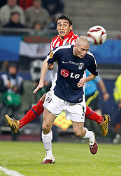 12.05.2010, Hamburg Arena, Hamburg, GER, UEFA Europa League Finale, Atletico Madrid vs Fulham FC im Bild.Atletico de Madrid's Salvio against Fulham's Paul Konchesky. EXPA Pictures © 2010, PhotoCredit: EXPA/ nph/  Alvaro Hernandez / SPORTIDA PHOTO AGENCY