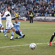 NEW YORK, NEW YORK - March 18: Maximiliano Moralez #10 of New York City FC shoots wide while clean through as his shot is watch by goalkeeper Evan Bush #1 of Montreal Impact during the New York City FC Vs Montreal Impact regular season MLS game at Yankee Stadium on March 18, 2017 in New York City. (Photo by Tim Clayton/Corbis via Getty Images)