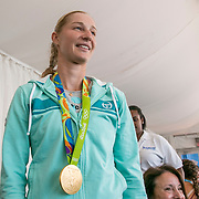 August 22, 2016, New Haven, Connecticut: <br /> Ekaterina Makarova wears her Olympic gold medal as she is introduced during the Anthem Symposium during Day 4 of the 2016 Connecticut Open at the Yale University Tennis Center on Monday August  22, 2016 in New Haven, Connecticut. <br /> (Photo by Billie Weiss/Connecticut Open)