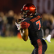 22 September 2018: San Diego State Aztecs wide receiver Fred Trevillion (7) catches a pass for a first down in the second quarter. The San Diego State Aztecs beat the Eastern Michigan Eagles 23-20 in over time at SDCCU Stadium in San Diego, California.