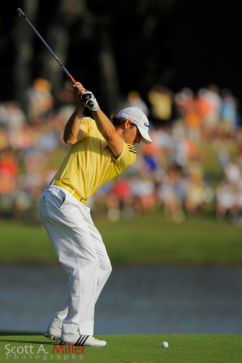 Sergio Garcia hits his second shot on the 16th hole during the third round of the Players Championship at TPC Sawgrass on May 10, 2008 in Ponte Vedra Beach, Florida.     © 2008 Scott A. Miller