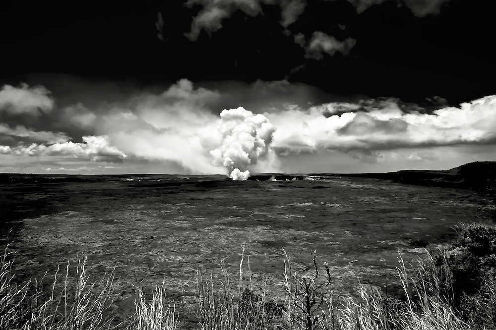 Gases rise from Halema'uma'u Crater at Hawaii Volcanoes National Park on The Big Island.  Copyright 2008 Reid McNally.