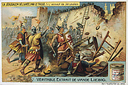 Jerusalem Delivered' (1580) epic poem by Torquato Tasso, Italian poet. Fictionalised story of First Crusade 1095-1099.  Christian knights attacking the walls of Jerusalem. Liebig Trade Card c1900. Chromolithograph.