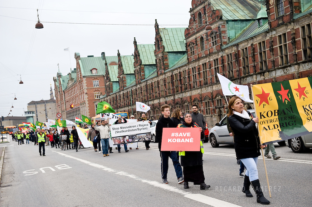 24.10.2014. Copenhagen, DenmarkKurdish Community in Copenhagen march in solidarity with Kurdistan against Islamic State attac in the Kurdish town of Kobani and areas of northern Syria by Islamic State IS group militants.Photo: © Ricardo Ramirez