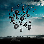 Surreal landscape with black balloons<br /> Prints &amp; more: http://bit.ly/2bbFhqj