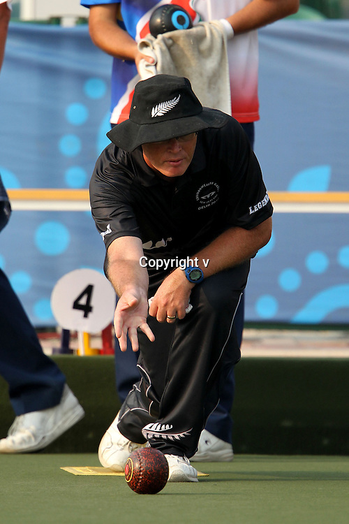 Andrew Todd of New Zealand during round 2 of the triples Lawn Bowls held at the Jawaharlal Nehru Sports Complex in New Delhi, India on the 4 October 2010<br /> <br /> Photo by:  Ron Gaunt/SPORTZPICS/PHOTOSPORT