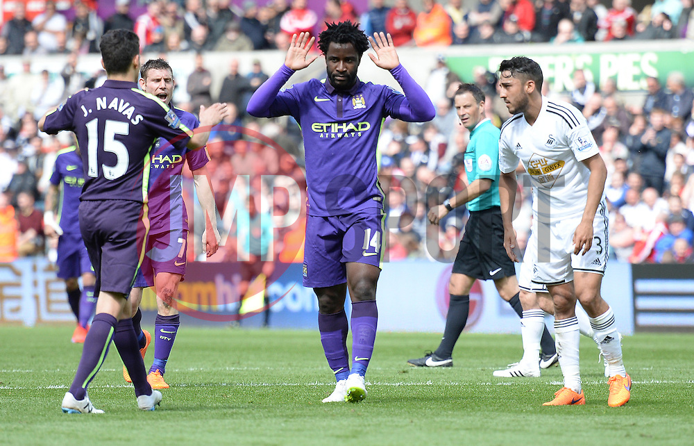 Manchester City's Wilfried Bony celebrates. - Photo mandatory by-line: Alex James/JMP - Mobile: 07966 386802 - 17/05/2015 - SPORT - Football - Swansea - The Liberty stadium - Swansea City v Manchester City - Barclays premier league