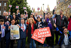 © Licensed to London News Pictures. 24/06/2016. London, UK. UKIP campaigners and supporters celebrate in Westminster on the day that the UK voted to leave the EU in a referendum. Photo credit: Ben Cawthra/LNP