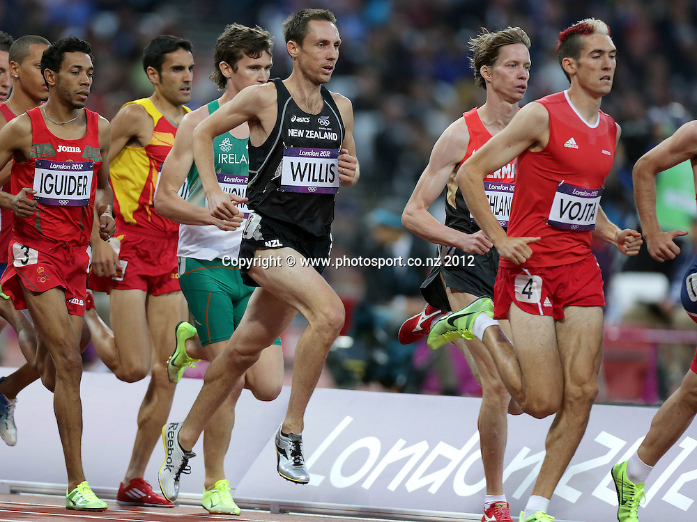 Athletics, London 2012 Olympic Games, Olympic Stadium, London, England 3/8/2012<br /> Men's 1,500m Heats<br /> New Zealand's Nicholas Willis competing in the Men's 1,500m Heats <br /> Mandatory Credit &not;&copy;INPHO/Morgan Treacy