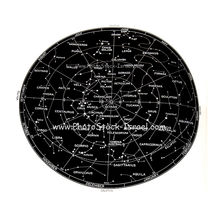 Southern Hemisphere stars and constellation sky map