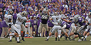 Defensive end Ian Campbell #98 of the Kansas State Wildcats blocks a punt against the Missouri Tigers at Bill Snyder Family Stadium in Manhattan, Kansas, November 19, 2005.  K-State defeated the Missouri Tigers 36-28.