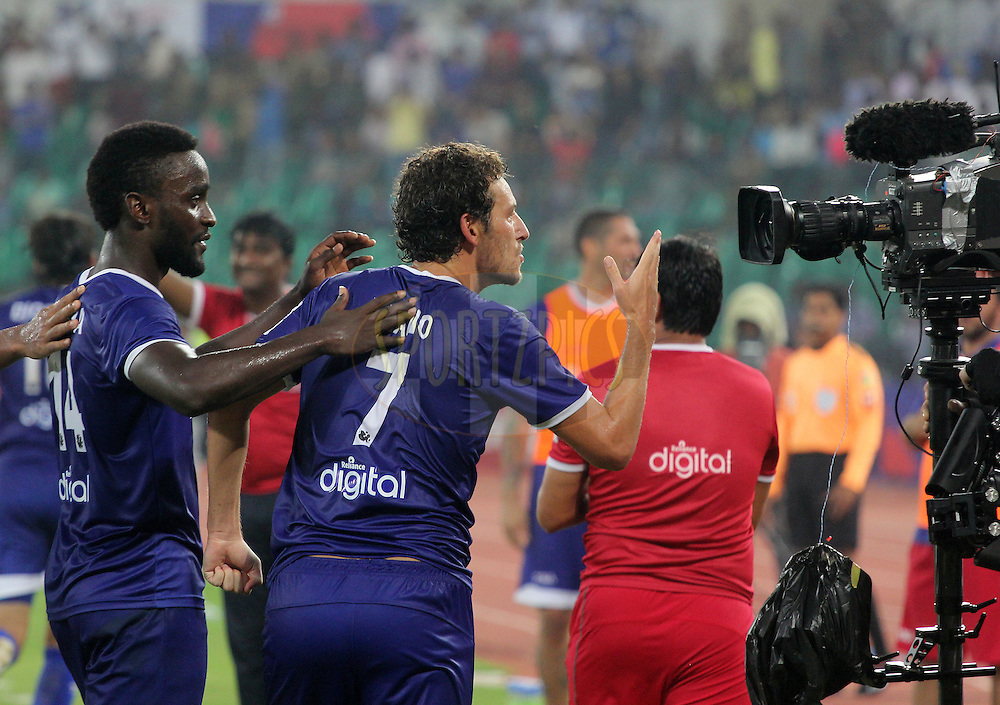 Elano Blumer of Chennaiyin FC celebrates a goal during match 15 of the Hero Indian Super League between Chennaiyin FC and Mumbai City FC held at the Jawaharlal Nehru Stadium, Chennai, India on the 28th October 2014.<br /> <br /> Photo by:  Vipin Pawar/ ISL/ SPORTZPICS