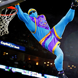 18 March 2009: New Orleans Hornets mascot Super Hugo dunks during a break in the action in a 94-93 victory by the New Orleans Hornets over the Minnesota Timberwolves at the New Orleans Arena in New Orleans, Louisiana.