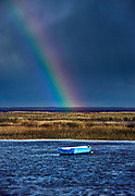 Rowboat rainbow, Boat Meadow Creek, Orleans, Cape Cod,  Massachusetts, USA.