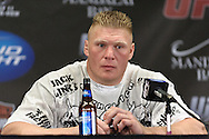 LAS VEGAS, NEVADA, JULY 11, 2009: UFC heavyweight champion Brock Lesnar answers questions during the post-fight press conference for UFC 100 inside the Mandalay Bay Events Center