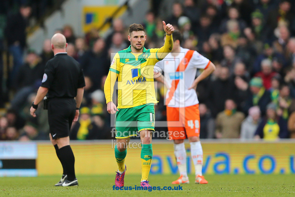 Gary Hooper of Norwich City celebrates after scoring the second goal of the Sky Bet Championship match at Carrow Road, Norwich<br /> Picture by Richard Calver/Focus Images Ltd +447792 981244<br /> 07/02/2015