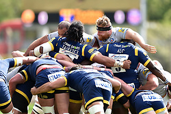 The front rows pop up at a scrum - Mandatory byline: Patrick Khachfe/JMP - 07966 386802 - 15/04/2017 - RUGBY UNION - Sixways Stadium - Worcester, England - Worcester Warriors v Bath Rugby - Aviva Premiership.