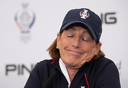 Auchterarder, Scotland, UK. 10 September 2019. Press conference by team at Gleneagles. Pictured Team USA Captain Juli Inkster. Iain Masterton/Alamy Live News