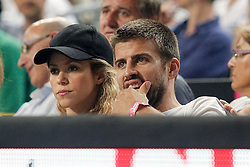 09.09.2014, City Arena, Barcelona, ESP, FIBA WM, Slowenien vs USA, im Bild FC Barcelona's Gerard Pique and his wife colombian singer Shakira // during FIBA Basketball World Cup Spain 2014 match between Slovenia and USA at the City Arena in Barcelona, Spain on 2014/09/09. EXPA Pictures © 2014, PhotoCredit: EXPA/ Alterphotos/ Acero<br /> <br /> *****ATTENTION - OUT of ESP, SUI*****